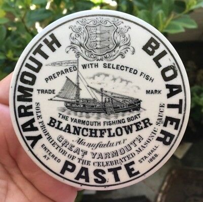 FISHING BOAT PICTORIAL POT LID BLANCHFLOWER YARMOUTH BLOATER PASTE 1890's