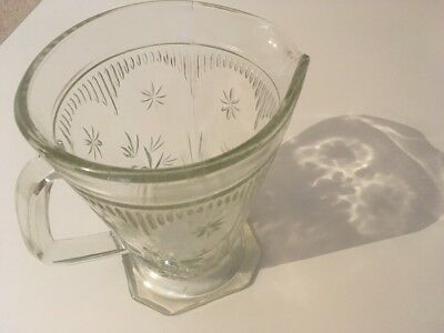 Vintage Large clear pressed glass Juice Cocktail water jug Mid Century 50s Retro