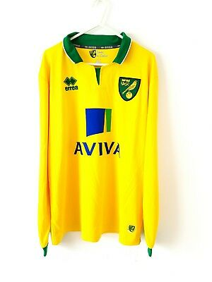 Norwich City Home Shirt 2012. Medium. Errea. Yellow Adults Long Sleeves Football
