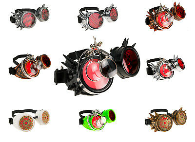 Cyber Goggles Steampunk Goth Spikes Loupe Oval Welding Antique Victorian Party