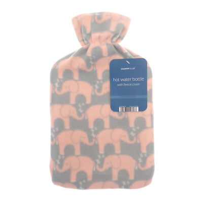 Country Club Fleece Hot Water Bottle, Elephant Winter Home Cosy Fun Warm Cover