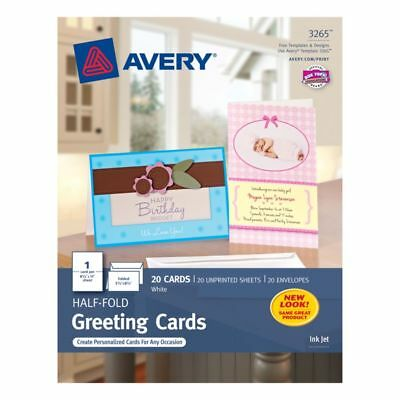 """Avery Personal Creations 5 1/2"""" x 8 1/2"""" White Perforated Half-Fold Cards, 20-Pk"""
