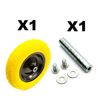PU 14'' 3.50-8 Metal Wheelbarrow Wheel & Tyre Puncture Proof + Axle Barrow Cart