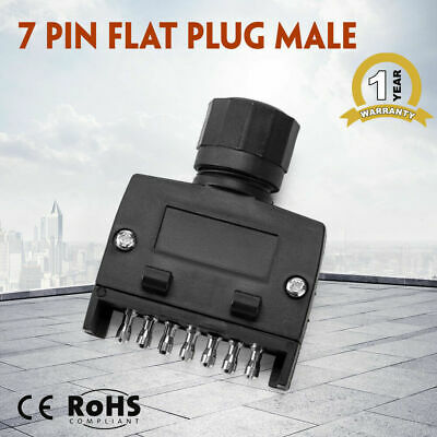 Black 7 Pin Flat Plug Male Rectangle Caravan Trailer Adapter Boat Quick Fit