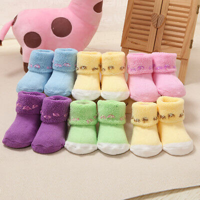 5 Candy Color Baby Girls Socks Anti Slip Warm Newborn Toddler Thicken Warm Socks