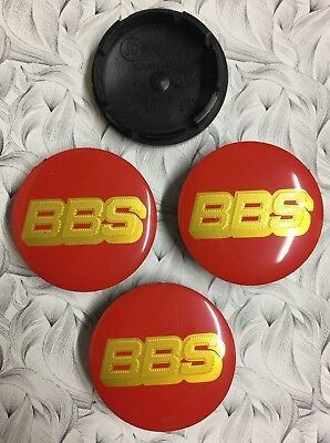 4x BBS Alloy Wheel Centre Cap Red / Gold 56mm Set Of 4 Hub Caps 3D Logo Decal