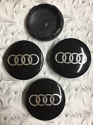 4x Audi Wheel Centre Cap Black / Silver 56mm Set Of 4 Hub Caps 3D Logo Decal New