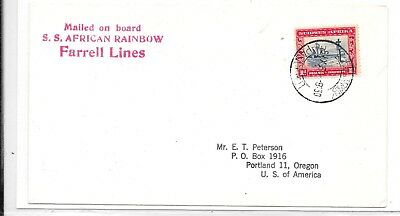 South West Africa 1958 Cover  Red Cachet'mialed On Board/S.s African Rainbow