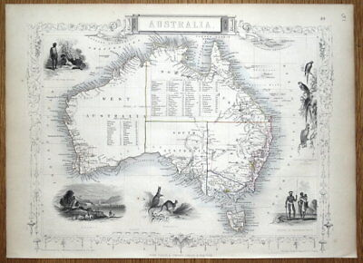 AUSTRALIA, Rapkin & Tallis original antique illustrated map 1851