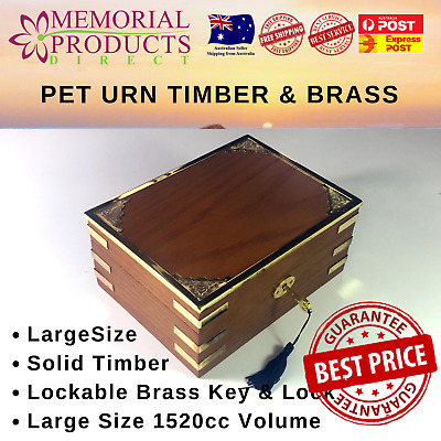 Pet Urn Solid Timber with Brass Features Large Size