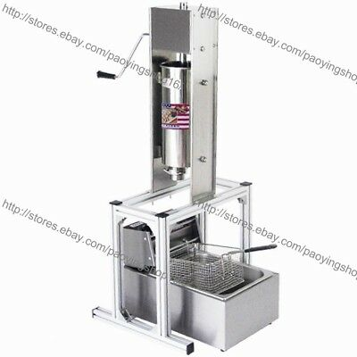 Heavy Duty Manual Vertical 5L Spanish Churrera Churros Machine Maker w/ 6L Fryer