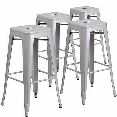 """4X 30"""" Counter High Tolix-Style Stackable Tall Metal breakfast Bar Stools Chair"""