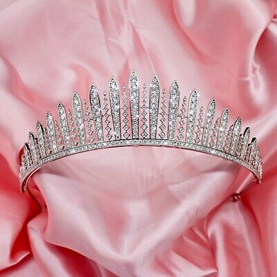 Luxury Platinum Plated Elizabeth Wedding / Prom Tiara  With AAA Cubic Zircnonias