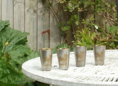 Vintage Russian Silver Plated & Gilded Engraved Vodka Beakers. In Good Condition