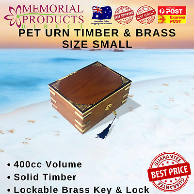 Pet Urn Solid Timber with Brass Features Small Size