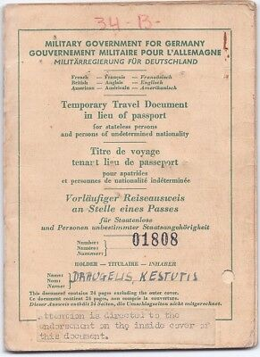 1947 Military Government for Germany post-WWII passport immigration to Brazil