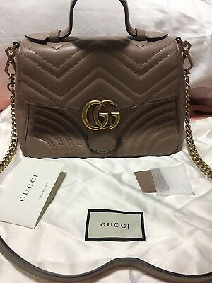 4a1b2f02d0b AUTHENTIC GUCCI GG MARMONT Matelasse Small Shoulder Bag Dusty Pink ...