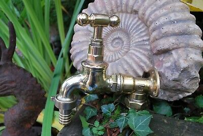 "Old Brass Large Garden Tap 3/4"" Reclaimed & Refurbished Genuine Old Brass Tap"
