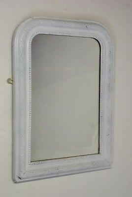 Antique French White Mirror Louis Philippe 64 cm x 49 cm Painted Early 20th C
