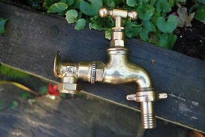 "Old Brass Original Patina Large Garden Tap 3/4"" Reclaimed & Refurbished  Tap"