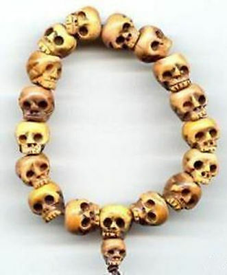 Tibetan Bone Carved Skull Prayer Beads Bracelet (Can be stretched)