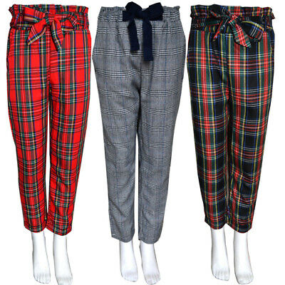 50% OFF Girls Kids Tartan Checkered Capri Trousers Pants CHILDREN