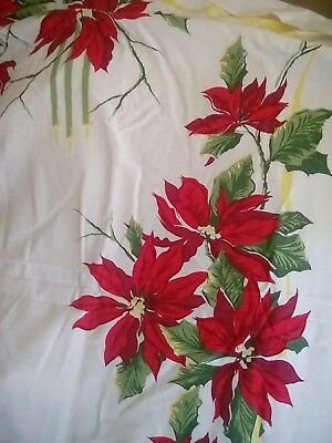 "Vintage Christmas Tablecloth White Red Green Candles Poinsettias 60"" x98""."