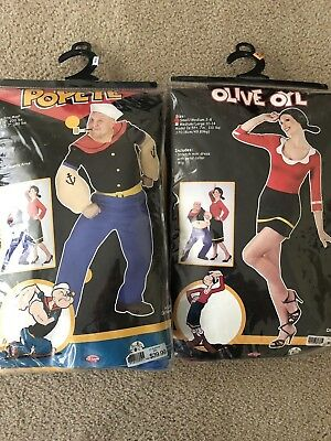 Popeye & Olive Oyl Adult Couples Costume, Halloween, Fun World, 1996
