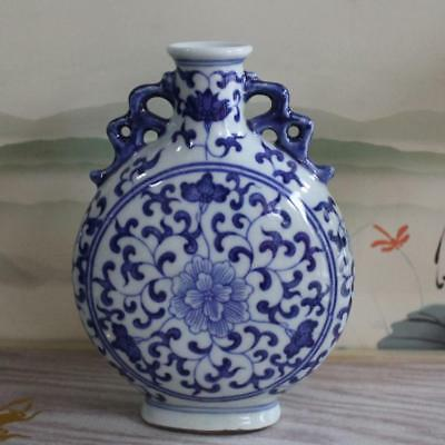 Old Blue and white Porcelain Bottle Hand Painted Flower Vase w Qianlong Marks
