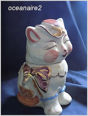 Shawnee PUSS N BOOTS Cookie Jar-Gold Trim and Flowers-USA