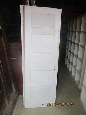 ANTIQUE VINTAGE 5 PANEL INTERIOR DOOR  APPROX 24 X 71 PAINTED WHITE both sides