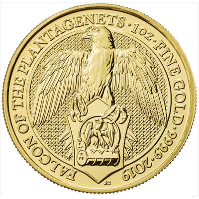 2019 U.K. 100 Pound 1 oz Gold Queen's Beast Falcon of the Plantagenets BU