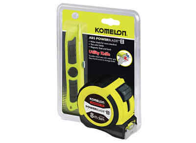 Komelon Soft Grip Powerblade II 8m Tape Measure with Magnetic End and Free Knife