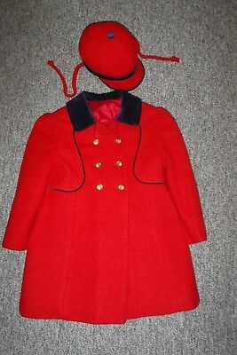 Vintage girl's red winter dress coat and hat, size 5, excellent condition