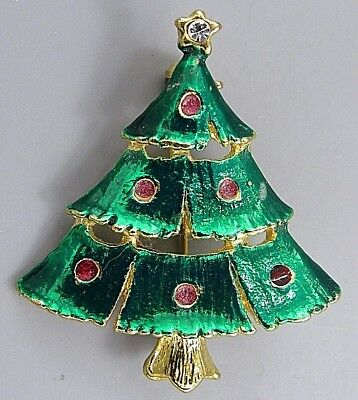Vintage Jewelry Green Glitter Christmas Tree BROOCH PIN Rhinestone Lot M