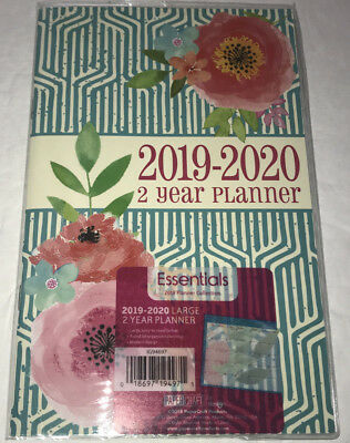 NEW 2019-2020 Large 2 Year Planner Green Floral Essentials Ruled Easy-to-Read