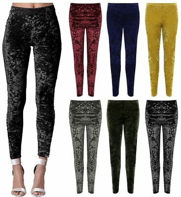 7769bd6f21e877 Womens Velour Velvet Crushed Casual Legging Ladies Elasticated Waist Pants  Lot