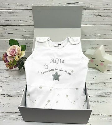Personalised Embroidered Baby Sleeping Bag 0-6 Months 1 Tog Love You to The Star