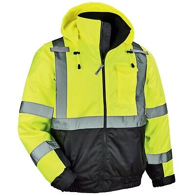 Ergodyne GloWear Class 3 Quilted Safety Bomber Jacket, Yellow/Lime