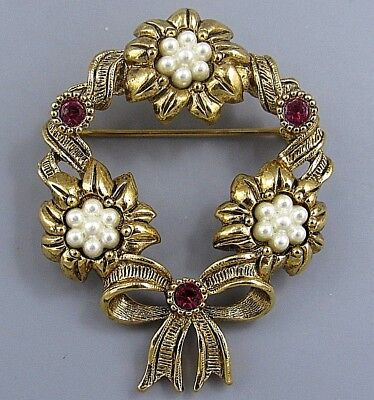 Vintage Jewelry Signed AVON Ruby Pearl Flower Wreath BROOCH PIN Rhinestone Lot M