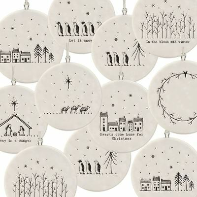 East of India Flat Christmas Bauble hanging decoration porcelain gifts.