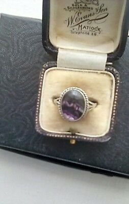 Antique Blue John Silver Ring with original Box