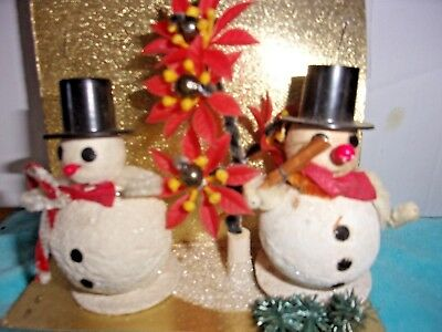 Pair Of Vintage Snowmen Frosted W/ Poinsettias & Trees In Original Packaging