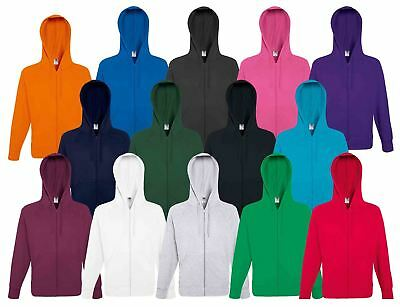 Fruit Of The Loom Mens Men's Lightweight Hooded Sweat Jacket Zipped Sweatshirts