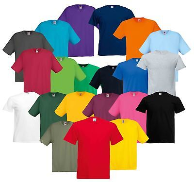 Fruit Of The Loom Mens Original Full Cut Plain Rib Crew Neck T-Shirt