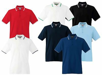 Fruit Of The Loom Mens Men's Tipped Cadat collar Polo Shirts T-shirt