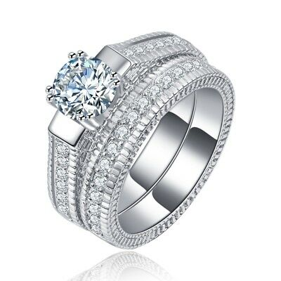 Sterling Silver Plated CZ Vintage Antique Style Engagement Wedding Band Set 5-10