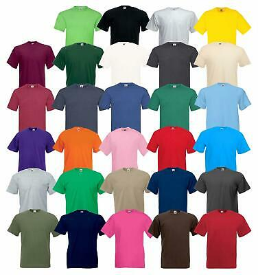 Fruit Of The Loom Mens Womens Valueweight Plain Crew Neck T-Shirt Tee Cotton