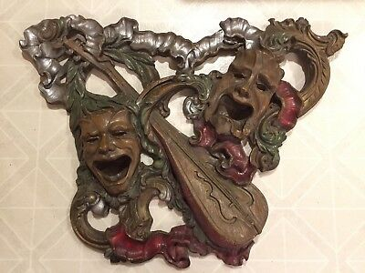 Vintage Comedy Tragedy Mask Wall Art Greek Muses Thalia and Melpomene