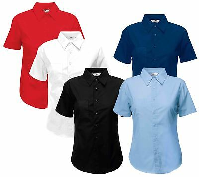 Fruit Of The Loom Ladies Lady-Fit Poplin Buttons Cadat collar Shirts & Blouses